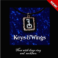 Keys And Wings Pendant Necklace Kit counted cross stitch