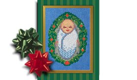 Baby Jesus, Christ Centered Christmas creche ornament cross stitch